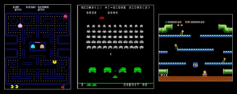 PacMan - Space Invaders - Mario Bros.